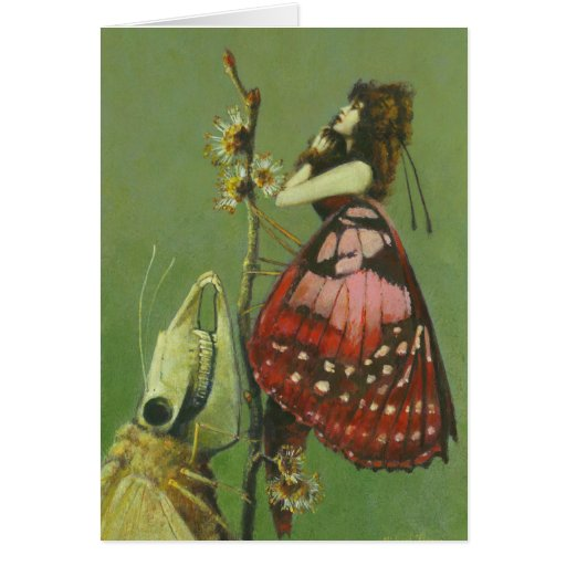 Gothic Surreal Moths Greetings Card