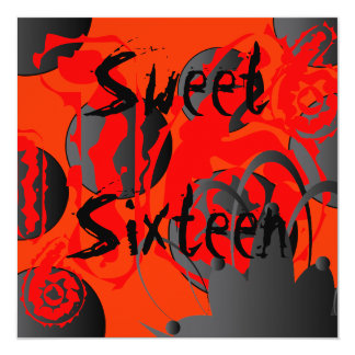 "Gothic Sweet Sixteen Invitation- Customize 5.25"" Square Invitation Card"