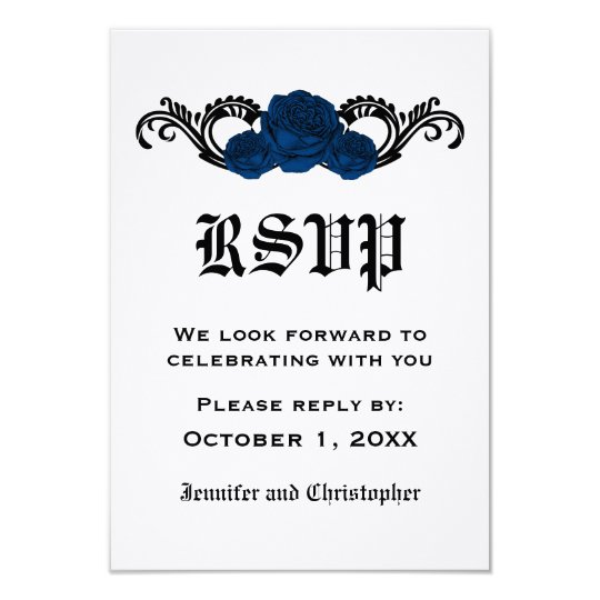 Gothic Swirl Roses Response Card, Blue Card