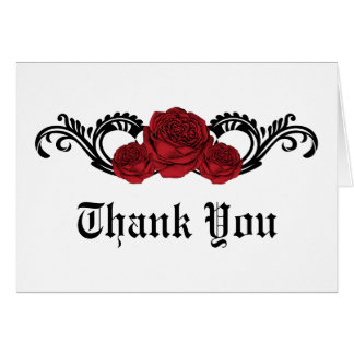 Gothic Swirl Roses Thank You Card, Red Card