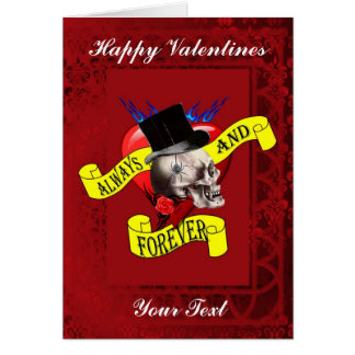 Gothic tattoo and love heart valentines day card