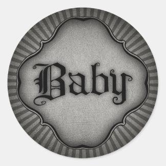 Gothic Text Baby Classic Round Sticker
