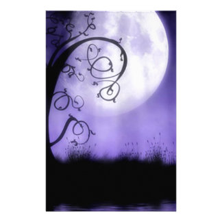 Gothic tree and moon personalized stationery