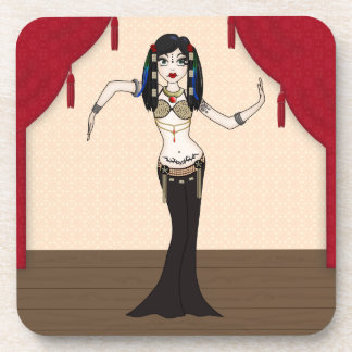 Gothic Tribal Fusion Bellydancer in Stage Scene Coaster