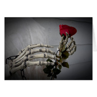 Gothic Valentine's day skeleton holding a rose Greeting Card