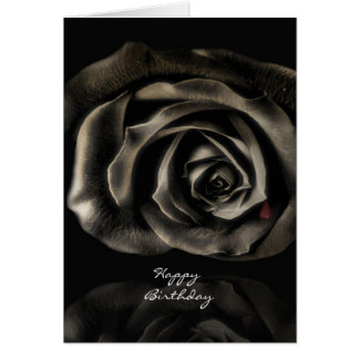 Gothic Vampire Black rose happy birthday Card