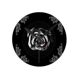 Gothic Vampire Black rose Round Clock