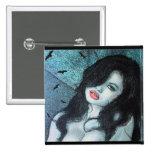 Gothic vampire woman black hair original art ELD Pin