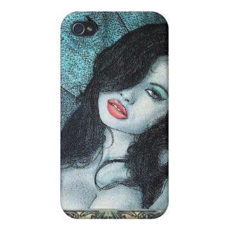 Gothic vampire woman black hair original art ELD iPhone 4/4S Cases