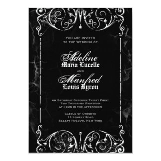 Gothic Victorian Black & White Halloween Wedding 13 Cm X 18 Cm Invitation Card