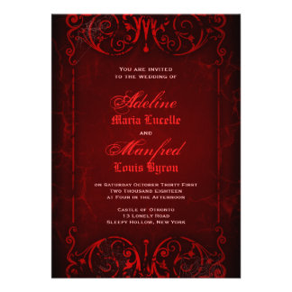 Gothic Victorian Deep Red Wedding Personalised Announcements