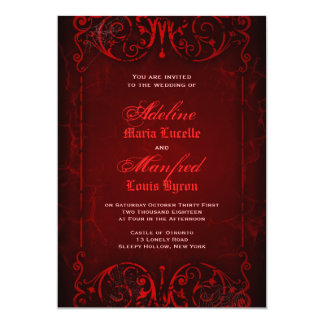 Gothic Victorian Deep Red Wedding 13 Cm X 18 Cm Invitation Card