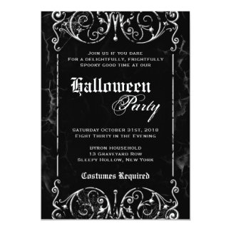 Gothic Victorian Spooky Black Halloween Party Card