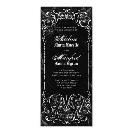 Gothic Victorian Spooky Black & White Wedding Card
