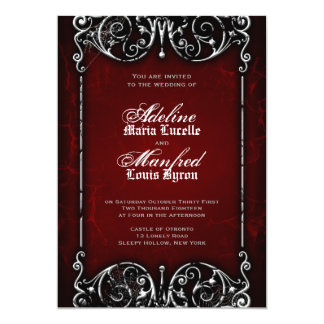 Gothic Victorian Spooky Red, Black & White Wedding 13 Cm X 18 Cm Invitation Card