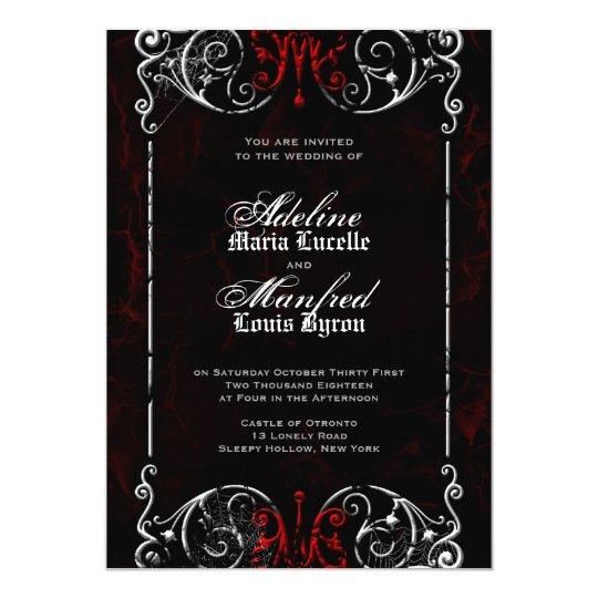 Gothic Victorian Spooky Red, Black & White Wedding