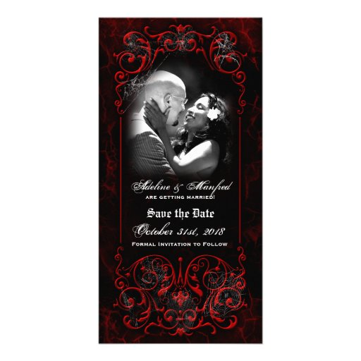 Gothic Victorian Spooky Red Custom Save the Date Custom Photo Card