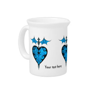 Gothic victorian staked vampire heart in blue beverage pitchers