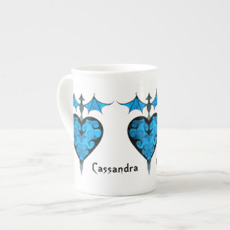 Gothic victorian staked vampire heart in blue porcelain mugs