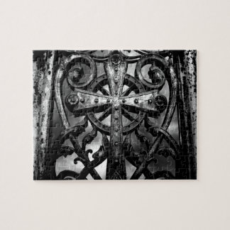 Gothic victorian wrought iron celtic cross jigsaw puzzle