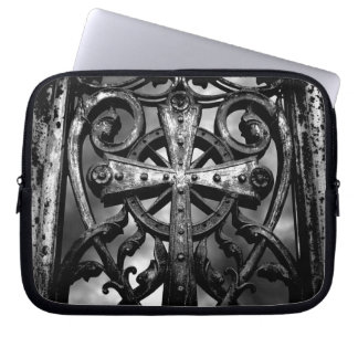 Gothic victorian wrought iron celtic cross laptop sleeve