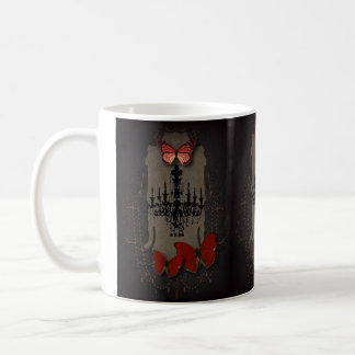 Gothic Vintage Black Chandelier Red Butterfly Basic White Mug
