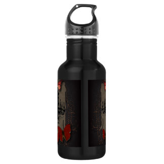 Gothic Vintage Black Chandelier Red Butterfly 18oz Water Bottle