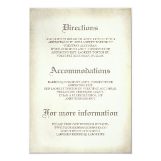 Gothic Vintage Wedding Details - Information Card