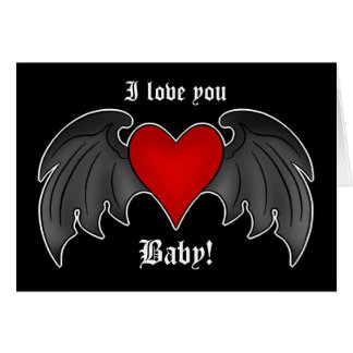 Gothic winged heart romantic Valentines Day Greeting Card
