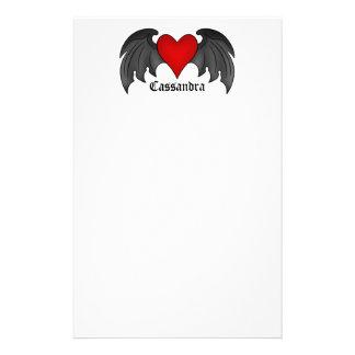 Gothic winged heart Valentines Day Custom Stationery