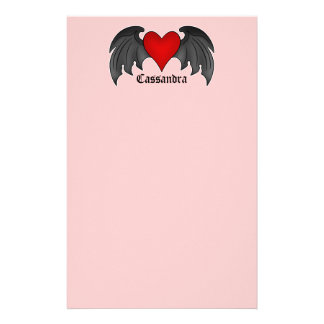 Gothic winged heart Valentines Day Customised Stationery