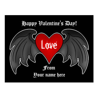 Gothic winged heart Valentines Day Postcard