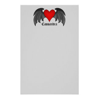 Gothic winged heart Valentines Day Personalized Stationery