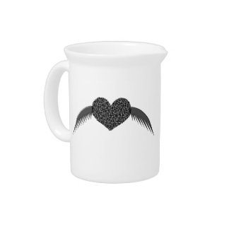 Gothic Winged Love Heart Pitcher