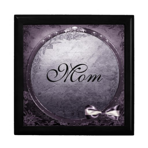 Gothic Winged Skull Purple & Black Mom Jewelry Box