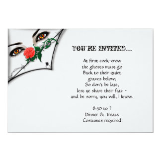 """Gothic Witch Peeking Over Halloween Party 5"""" X 7"""" Invitation Card"""