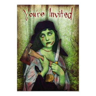 Gothic Zombie Girl Halloween Horror 13 Cm X 18 Cm Invitation Card
