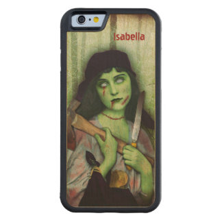 Gothic Zombie Girl Halloween Horror Name Carved® Maple iPhone 6 Bumper Case