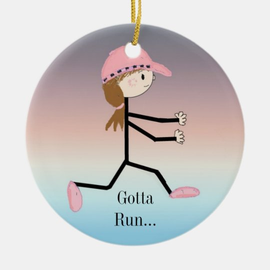 Gotta Run Female Running Figure Christmas Ornament