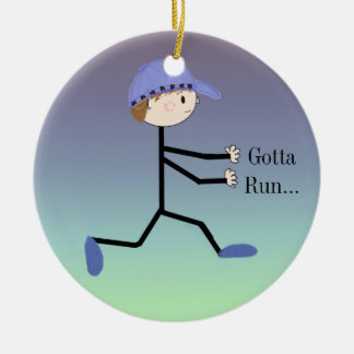 Gotta Run Male Running Figure Double-Sided Ceramic Round Christmas Ornament