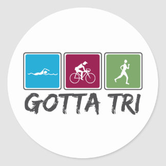 gotta tri (Triathlon) Round Sticker