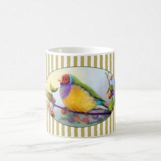 Gouldian finch realistic painting basic white mug