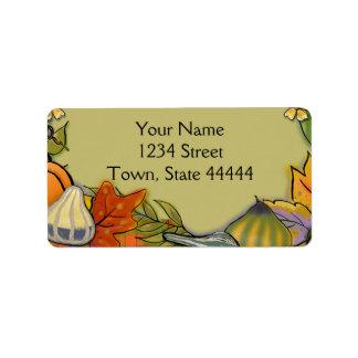 Gourds Thanksgiving Address Labels