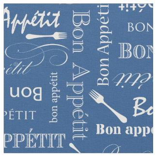 Gourmet Kitchen Bon Appetit Blue Custom Color Fabric