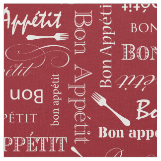 Gourmet Kitchen Bon Appetit Red and White Fabric