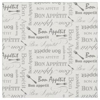 Gourmet Kitchen Bon Appetit Retro Typography Fabric