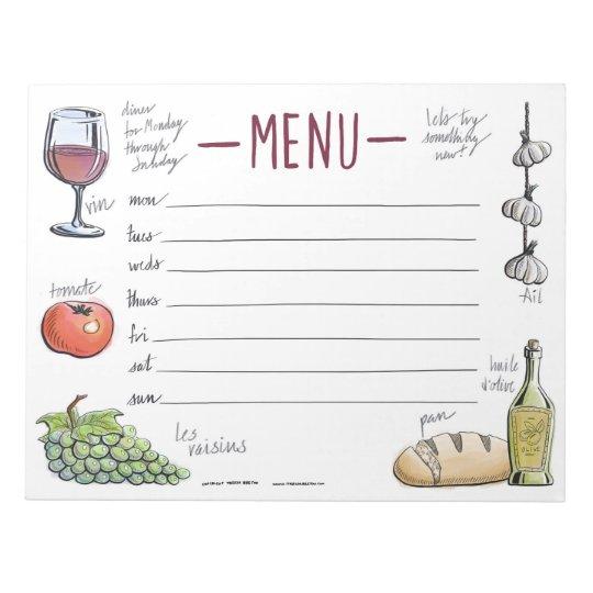 Gourmet Weekly Dinner Menu Sticky Notepad