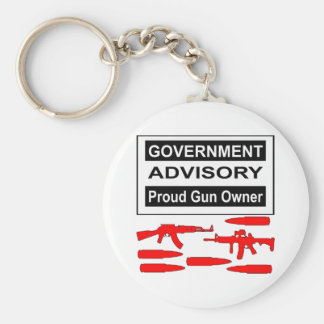 Government Advisory Proud Gun Owner Keychains
