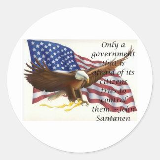 Government Control Flag Statement Round Sticker