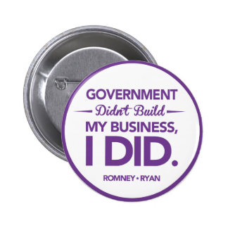 Government Didn't Build My Business Purple Border 6 Cm Round Badge
